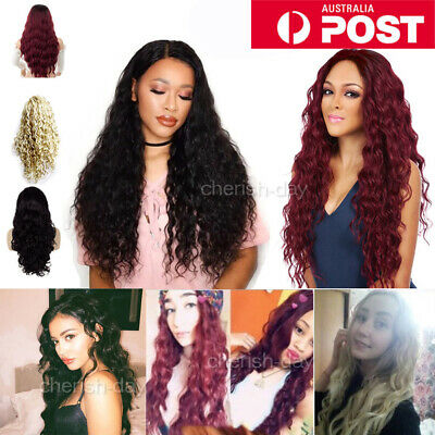 Women Long Wavy Curly Full Hair Wigs Black Brown Lady Synthetic Cosplay + Cap