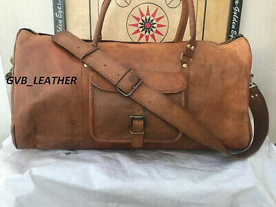 "24"" New Men's Vintage Genuine Leather Cowhide Traveler Luggage Duffle Gym Bags"
