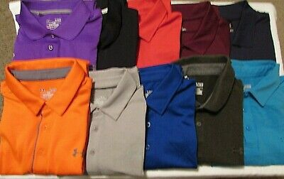 LOT of 10 UNDER ARMOUR Men's XL Polyester Blend Athletic Golf Polo Shirts