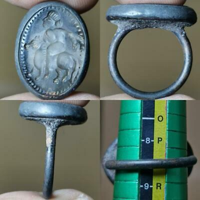 Near Eastern King Horse Old Crystal stone intaglio Ring   # 120