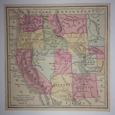 Antique 1873 Map of Western United States