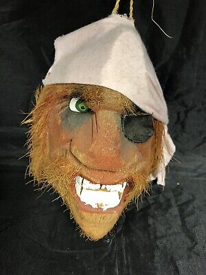 Vintage Carved Coconut Shell  PIRATE Head w/ Bandana & Eye Patch
