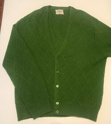 Rare Vintage 60's Ardleigh Green Cardigan Sweater Geometric Atomic Men's Large