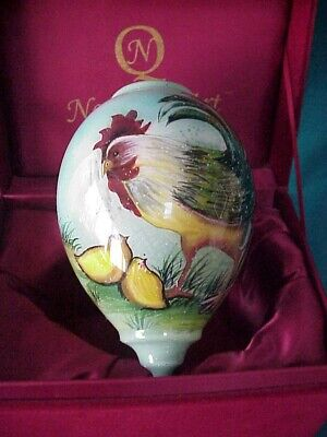 Ne'Qwa Art Glass Christmas Ornament Artist Signed Susan Winget w/Box Baby Chicks