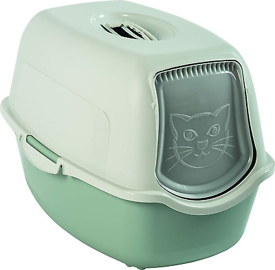Rotho Bailey 4552905081 Cat Litter Tray with Cover Sage/White