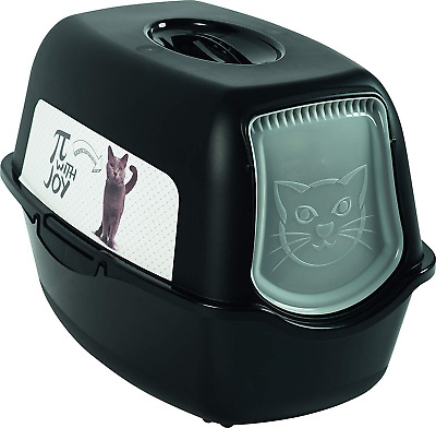 Rotho Bailey 4552910537 Cat Litter Tray with Hood and Motif Black with Motif