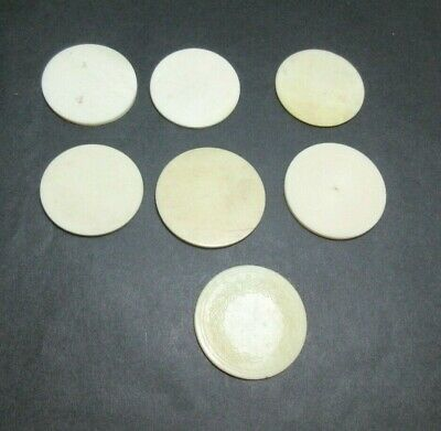 7 x ANTIQUE BONE GAMING COUNTERS; USEFUL FOR INLAY REPAIRS ETC 35 X 1.5 MM