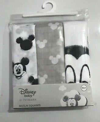 Primark Mickey Mouse Disney Baby Square Muslins. 3 Pack White Black Grey New 0+