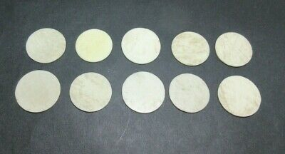 10 x ANTIQUE BONE GAMING COUNTERS; USEFUL FOR INLAY REPAIRS ETC 24 X 1 MM
