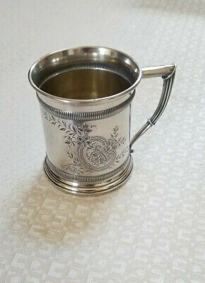 Whiting Sterling Silver Baby Child's Cup Mug Brite Cut Gold Wash