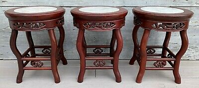 Vintage Set of 3 Asian Carved Rosewood & Inset Marble Low Side Tables c. 1940