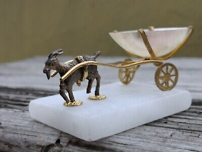 Antique French Thimble Holder Goat Pulling Cart Mother Of Pearl, Brass Alabaster