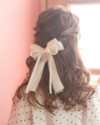 LIZ LISA -heart Pin Lace Ribbon Hair Clip(japan harajuku sweet lolita)