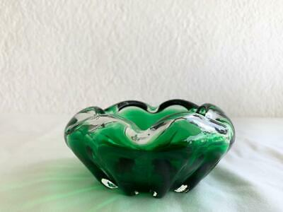 Great Collectable Vintage Green Retro Glass Ashtray / Bowl