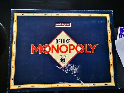 Waddingtons DELUXE MONOPOLY Board Game Gold Playing Pieces 1990 Vintage CHECKED