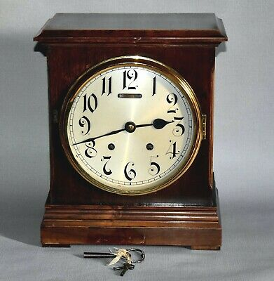 Victorian Black Forest Winterhalder And Hofmeier Chiming Mahogany Mantel Clock