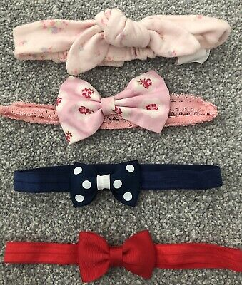 Baby Girl's 4 x Headbands - Pinks, Blue & Red - 0-12 Months - My 1st Years