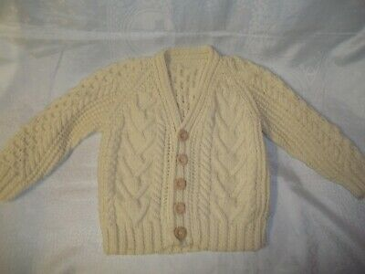 Aran Cardigan Hand-knitted Pure Wool New Age 5 to 6