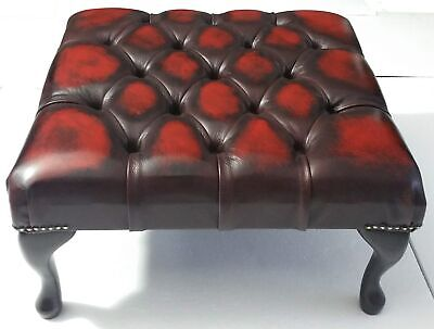 Large Square Chesterfield Footstool Table 100% Antique Oxblood Red Leather
