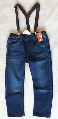 BNWT Next Boys 2-3 Years Blue Jersey Jeans With Braces and Adjustable Waist