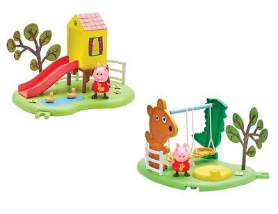 Peppa Pig Peppa's Outdoor Fun Slide / Swing Playset With Articulated Figure Sets
