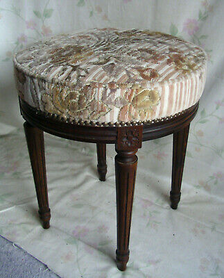 antiker Hocker II. Empire 1880 Frankreich Schemel Stuhl Holz Samt french chair