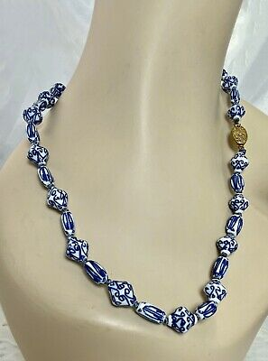 """Hand Painted Old Chinese Porcelain Blue White Beads 23"""" Necklace Sterling Clasp"""