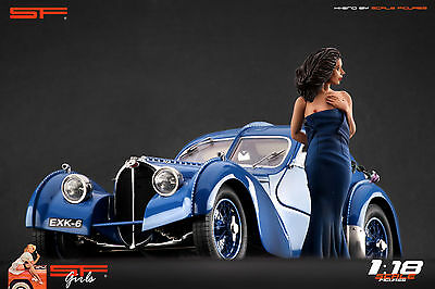 Details about  /1:18 Sitting Girl blue dress VERY RARE ! figurine NO CARS !for diecast by SF