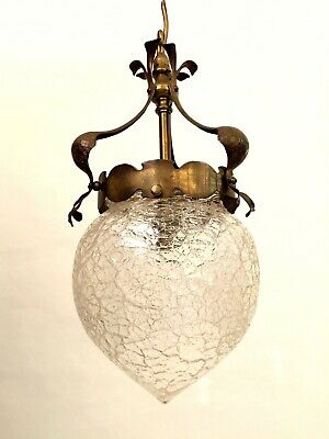 Antique Arts and Crafts Movement metal lantern light crackle glaze glass shade