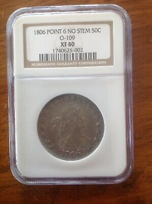 1806 Draped Bust Half Dollar 50C Pointed 6 No Stem O-109 NGC XF 40