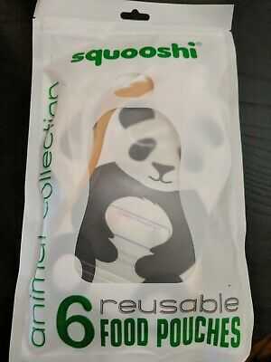 NEW Squooshi Reusable Food PouchAnimal 6 PackNew Larger Size SHIPS FREE