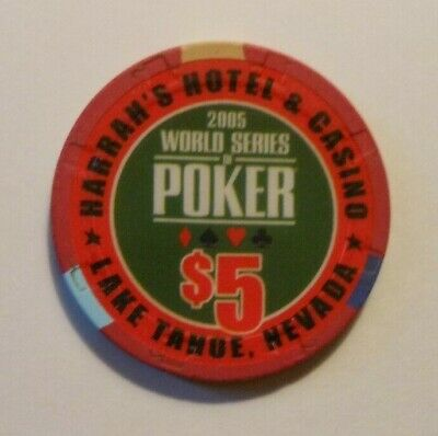 "$5.00 Casino Chip 2005 ""Harrah's Casino"" World Series Of Poker Lake Tahoe, Nv"