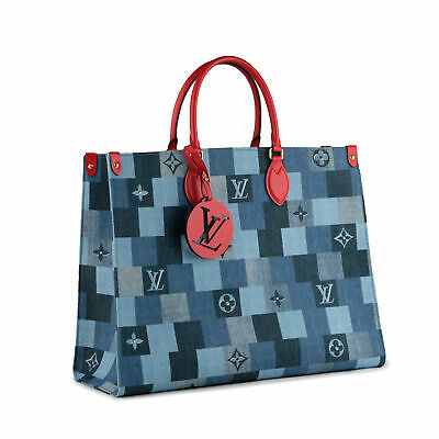 NEW LOUIS VUITTON ONTHEGO GM Blue Denim Damier Monogram Tote Bag Red Leather