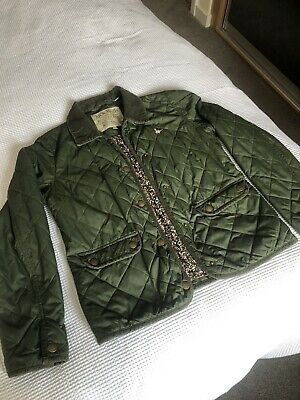 Ladies / Girls Jack Wills Quilted Barbour Style Jacket. Size Uk 10.