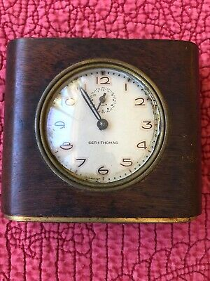 Antique Seth Thomas Alarm Clock In Wood Case with Brass Base