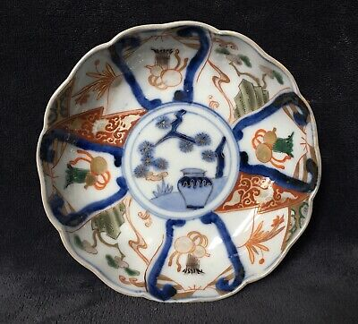 19th Century Antique Japanese Meiji Period Imari Precious Objects Scalloped Bowl