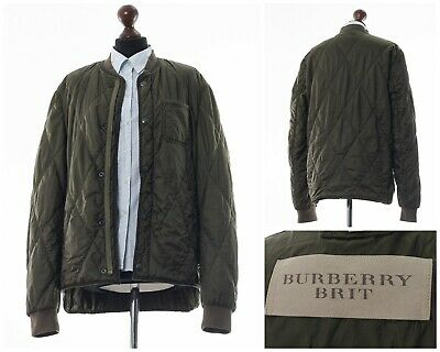 Mens BURBERRY BRIT Quilted Bomber Jacket Coat Khaki Green Size L