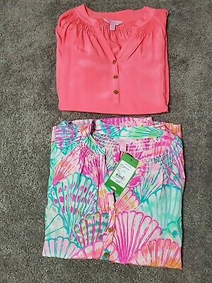 Lilly Pulitzer 100% Silk Elsa Top - Lot of 2 - 1 Brand new with Tag - Size XS