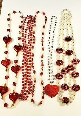 Red White Lips Hearts Roses Mardi Gras Beads Parade Throws Lot of 9 New Orleans