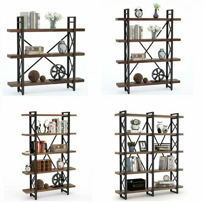 Solid Wood Industrial Metal Bookcase Retro Brown Bookshelf for Home Office Decor