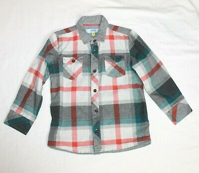 Ted Baker White Grey Checked Long Sleeved Shirt age 4-5 Years