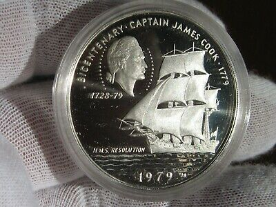 1.8 oz two large DCAM Proof Silver Coins Cook Islands 1974 $2.5 /& $7.5 ASW
