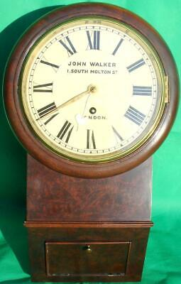 "John Walker English  Mahogany 8"" Drop Dial 8 Day Railway Fusee Wall Clock"
