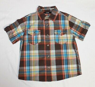 George Brown Blue Orange Checked Short Sleeved Shirt age 5-6 Years