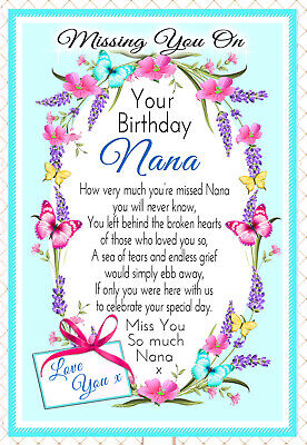 Nana Birthday In Memory Graveside Memorial Rememberance Keepsake Card &  Holder