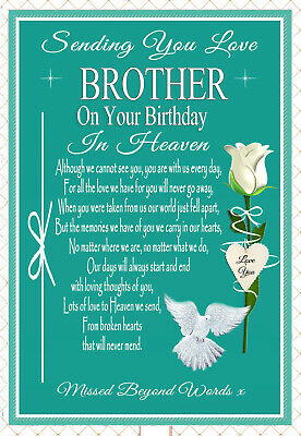 Brother Birthday Memorial Keepsake Bereavement Graveside Card & Holder