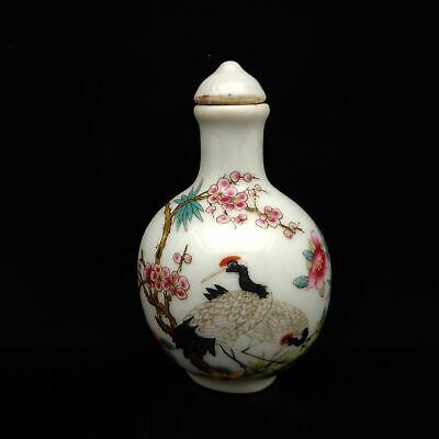 Chinese Exquisite Handmade Red-crowned crane pattern porcelain snuff bottle s-15