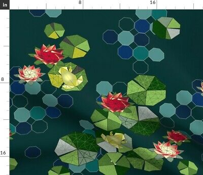 Origami Frog Lilly Pad Pond Lake Japanese Art Fabric Printed by Spoonflower BTY