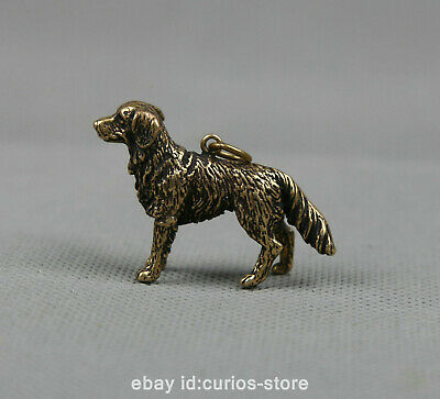 """1.6"""" Collect Chinese Bronze 12 Zodiac Animal Lovable Dog Statue Pendant 22.47G"""