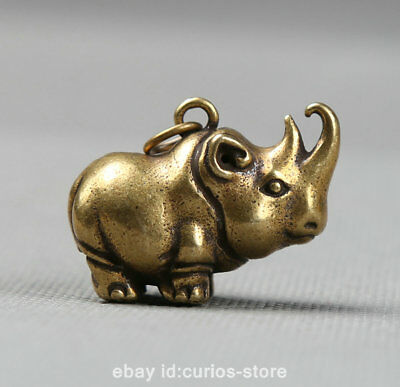 "1.3""Collect Curio Chinese Bronze Animal Likable Rhinoceros Small Pendant 23.4g犀牛"